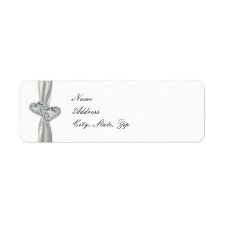 Etiquetas de dirección blancas del boda de los cor