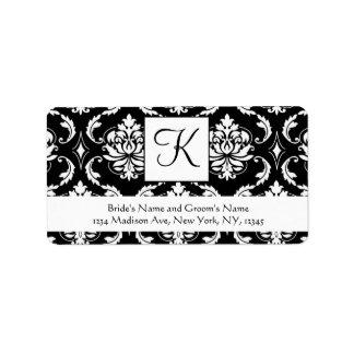 Etiquetas de dirección blancas negras del boda del