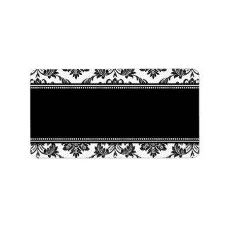 Etiquetas de dirección blancos y negros del boda d