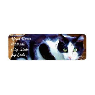 Etiquetas de dirección blancos y negros del gato