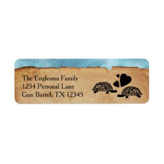Etiquetas de dirección caprichosas de la tortuga