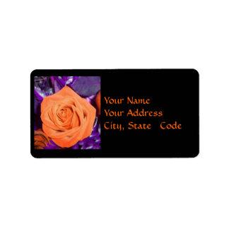 Etiquetas de dirección color de rosa anaranjadas