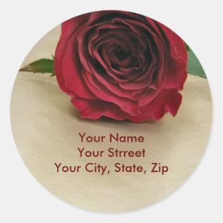 Etiquetas de dirección color de rosa pegatina redonda