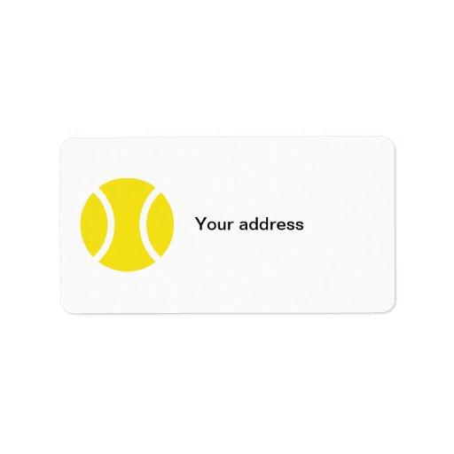Etiquetas de dirección con diseño del tenis