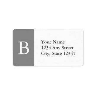 Etiquetas de dirección cones monograma grises y bl