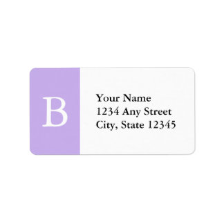 Etiquetas de dirección cones monograma púrpuras y