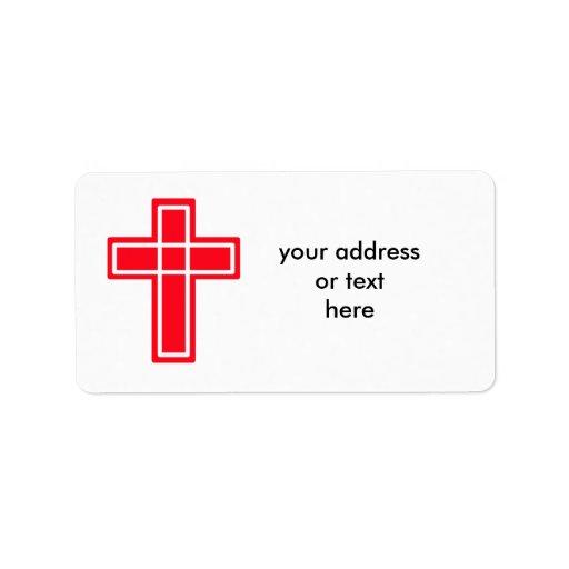 Etiquetas de dirección cruzadas rojas y blancas cr