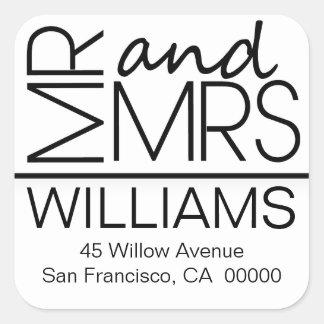 Etiquetas de dirección cuadradas blancos y negros calcomania cuadradas personalizadas