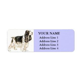 Etiquetas de dirección de cocker spaniel (lila)