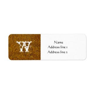 Etiquetas de dirección de cuero equipadas marrones