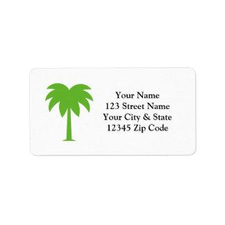 Etiquetas de dirección de encargo de la palmera
