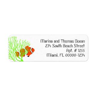 Etiquetas de dirección de encargo de los pescados