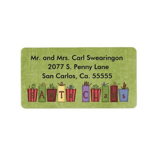 Etiquetas de dirección de encargo del navidad