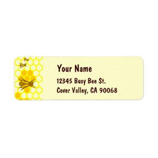 Etiquetas de dirección de encargo del panal de la
