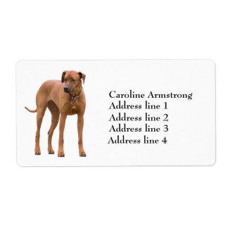 Etiquetas de dirección de encargo del perro de Rho