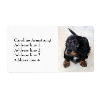 Etiquetas de dirección de encargo lindas del perro