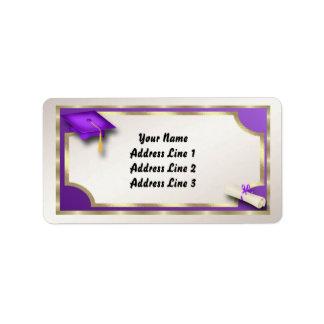 Etiquetas de dirección de Grauation de la púrpura