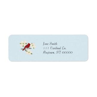Etiquetas de dirección de la acuarela del cardenal