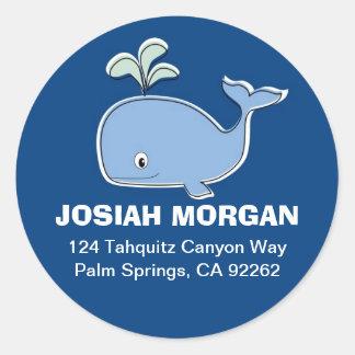 Etiquetas de dirección de la ballena azul pegatina redonda