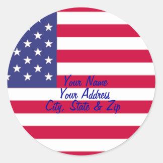 Etiquetas de dirección de la bandera americana pegatina redonda