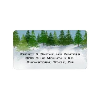 Etiquetas de dirección de la escena del invierno