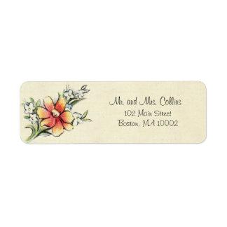 Etiquetas de dirección de la flor del vintage