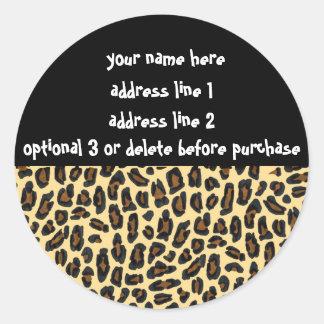 Etiquetas de dirección de la impresión de la piel pegatinas redondas