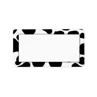 Etiquetas de dirección de la impresión de la vaca