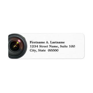 Etiquetas de dirección de la lente de cámara