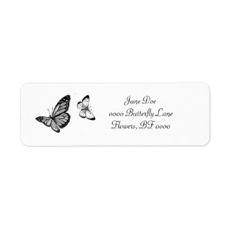 Etiquetas de dirección de la mariposa