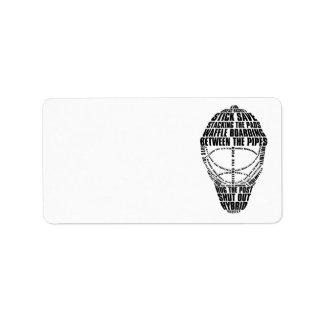 Etiquetas de dirección de la máscara del portero