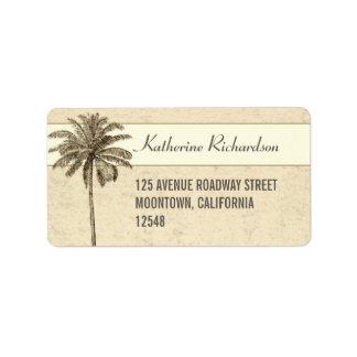 etiquetas de dirección de la palmera de la playa