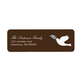 Etiquetas de dirección de la paloma del azul