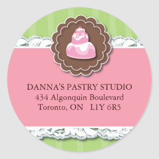 Etiquetas de dirección de la panadería pegatina redonda