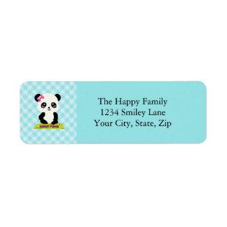 Etiquetas de dirección de la panda de Kawaii