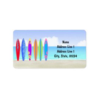 Etiquetas de dirección de la playa de las tablas