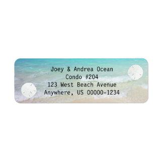 Etiquetas de dirección de la playa del agua del