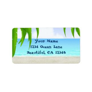 Etiquetas de dirección de la playa y del océano