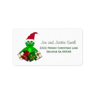 Etiquetas de dirección de la rana del navidad