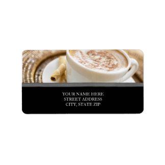 Etiquetas de dirección de la taza de café