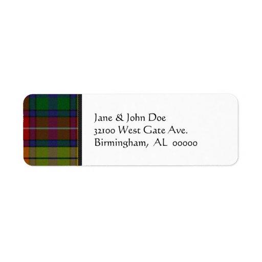 Etiquetas de dirección de la tela escocesa de tart