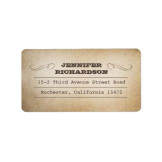 etiquetas de dirección de la tipografía del vintag