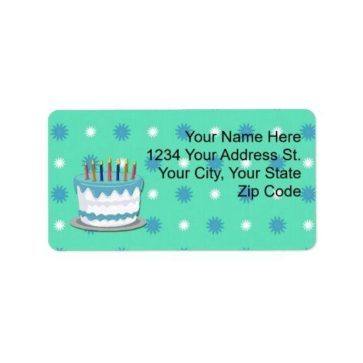 Etiquetas de dirección de la torta de cumpleaños