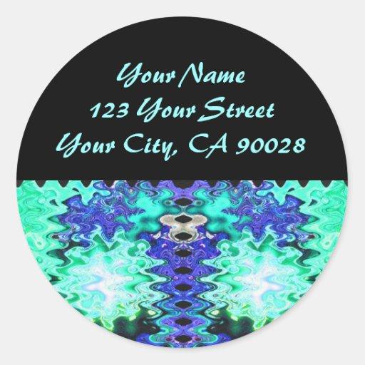 etiquetas de dirección de la turquesa pegatina redonda