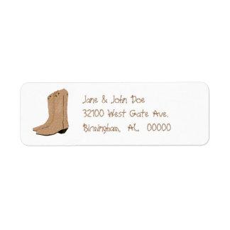 Etiquetas de dirección de las botas de vaquero