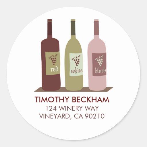 Etiquetas de dirección de las botellas de vino etiquetas redondas