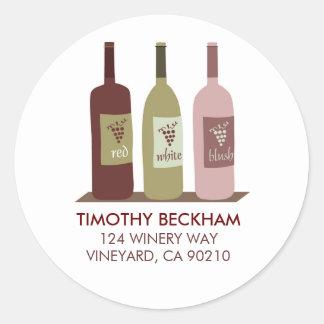 Etiquetas de dirección de las botellas de vino pegatina redonda