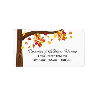 Etiquetas de dirección de las hojas del otoño que