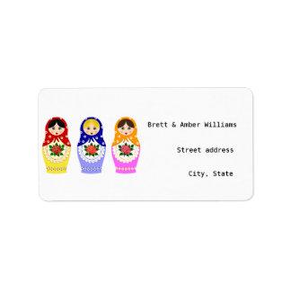 Etiquetas de dirección de las muñecas de Matryosch