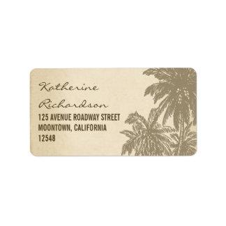 etiquetas de dirección de las palmas del vintage